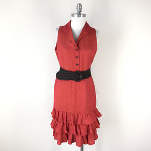 Lafayette 148 S 4 Orange Linen Dress Ruffle Flounc
